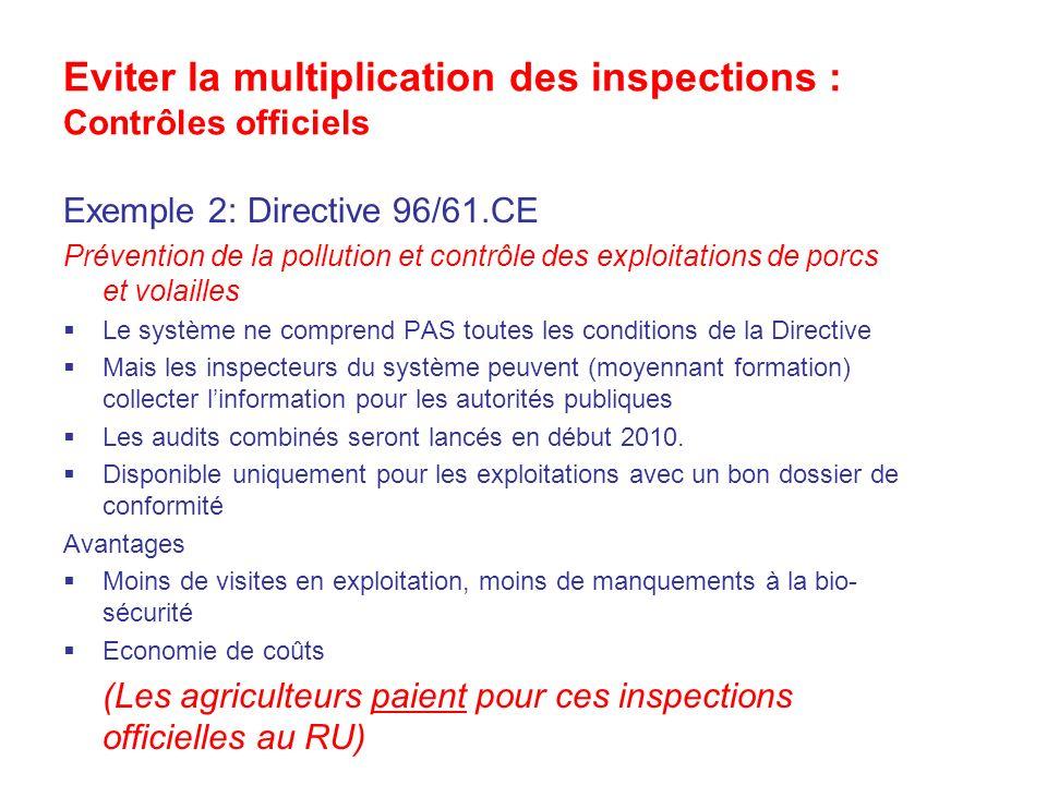 Eviter la multiplication des inspections : Contrôles officiels