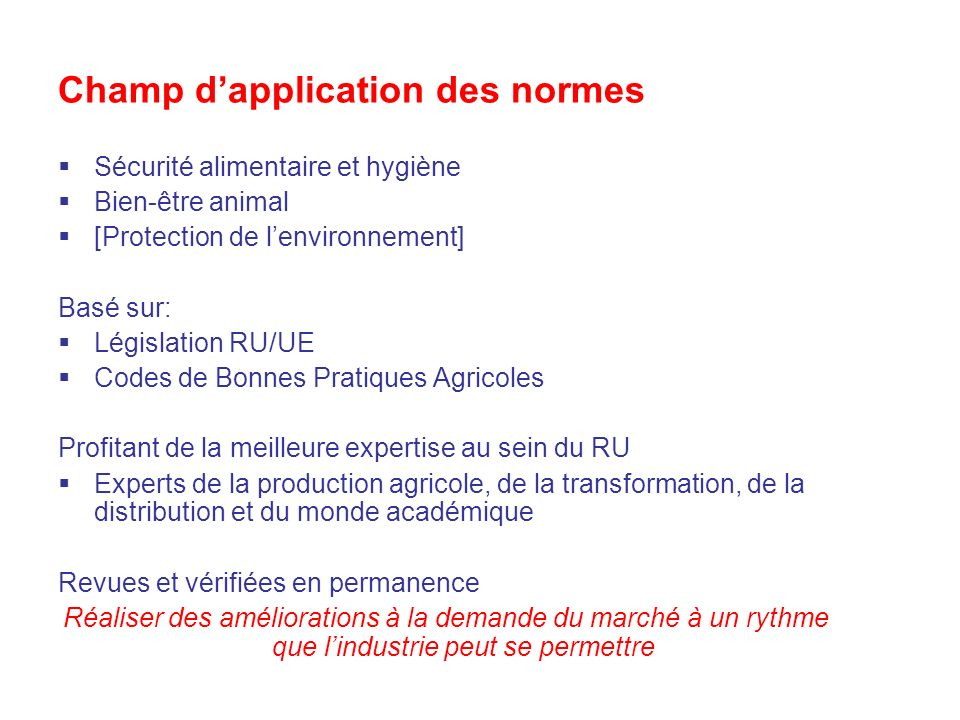 Champ d'application des normes