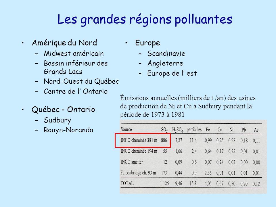 Les grandes régions polluantes