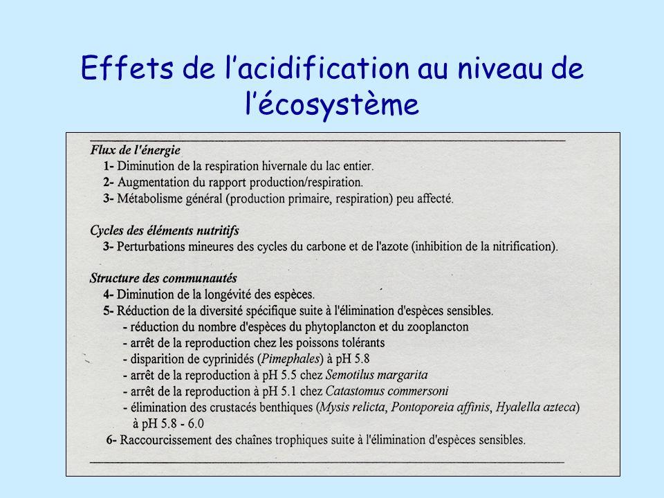 Effets de l'acidification au niveau de l'écosystème