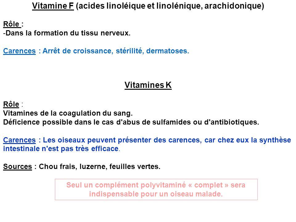 Vitamine F (acides linoléique et linolénique, arachidonique)