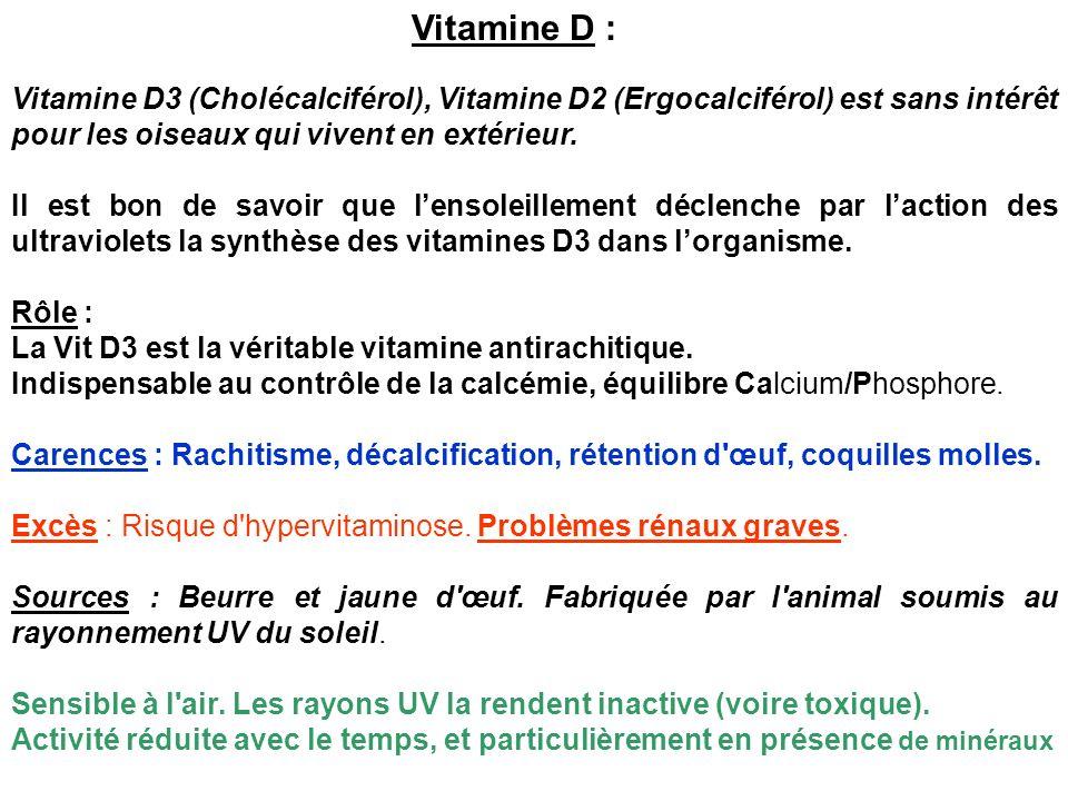 Vitamine D : Vitamine D3 (Cholécalciférol), Vitamine D2 (Ergocalciférol) est sans intérêt pour les oiseaux qui vivent en extérieur.