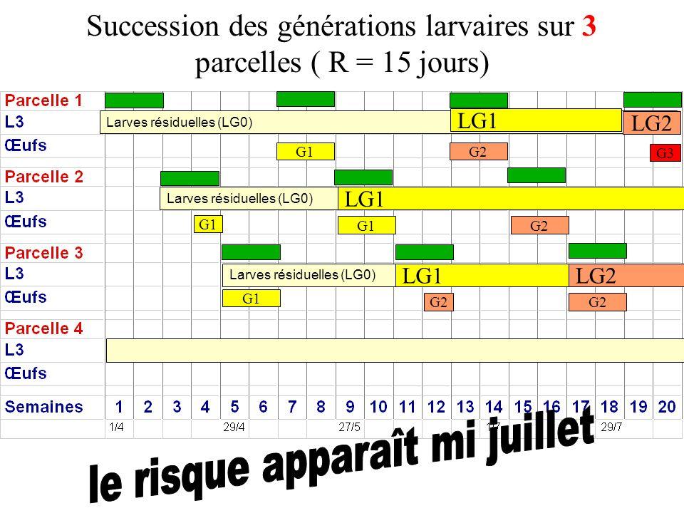 Succession des générations larvaires sur 3 parcelles ( R = 15 jours)