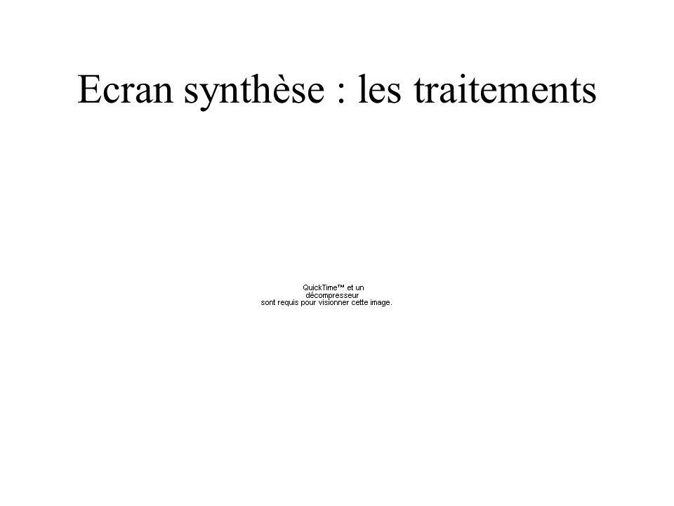 Ecran synthèse : les traitements