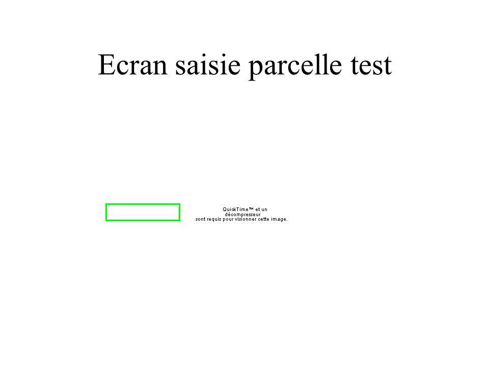 Ecran saisie parcelle test