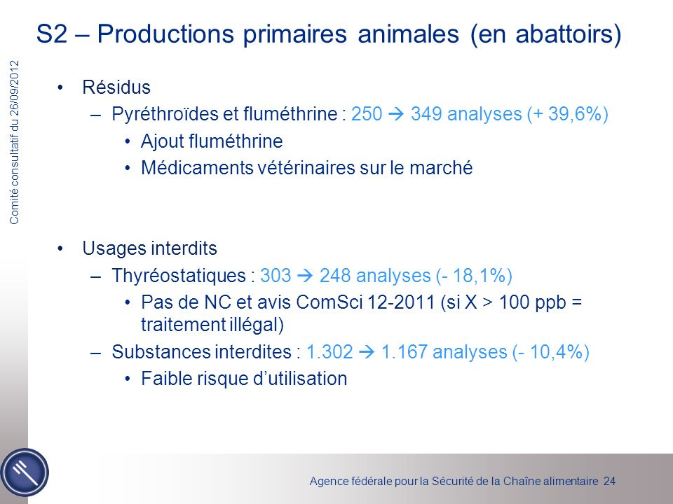 S2 – Productions primaires animales (en abattoirs)