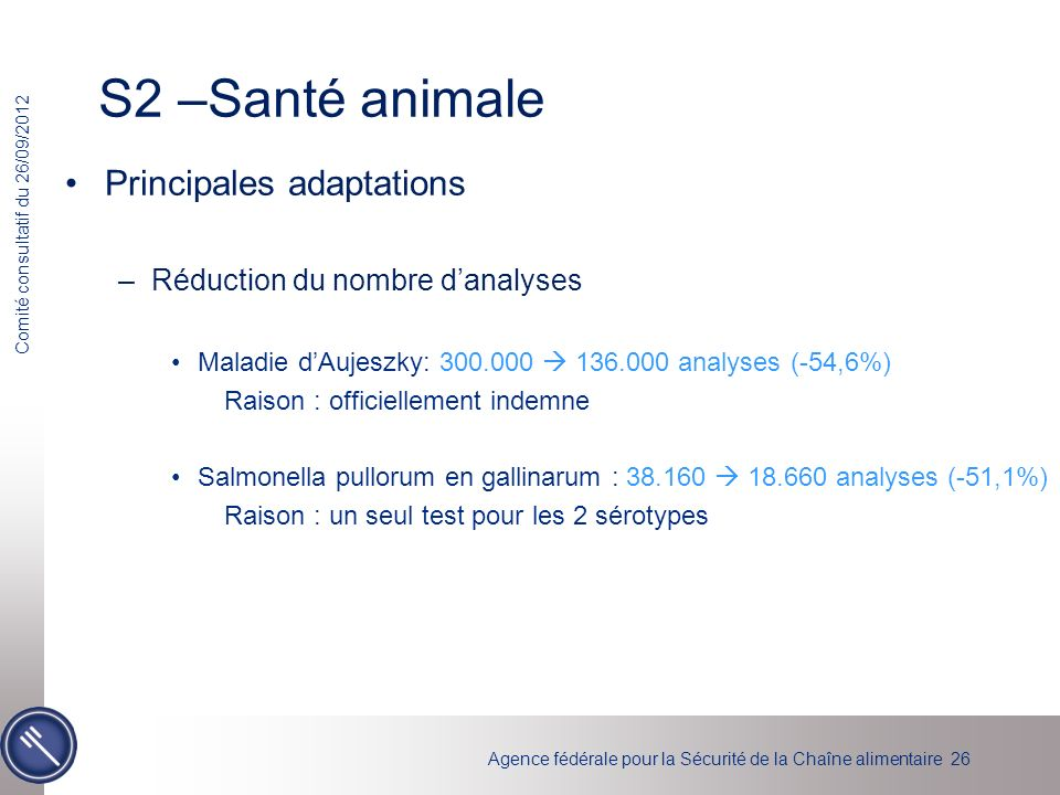 S2 –Santé animale Principales adaptations