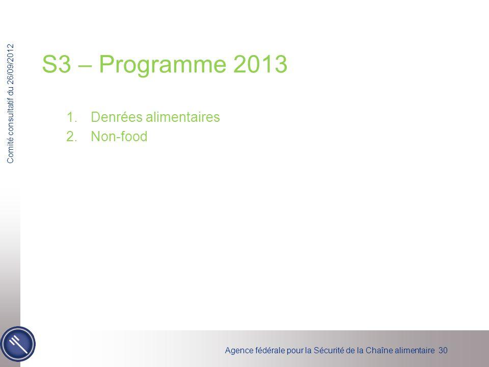 S3 – Programme 2013 Denrées alimentaires Non-food