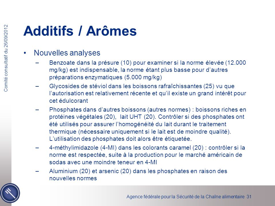 Additifs / Arômes Nouvelles analyses