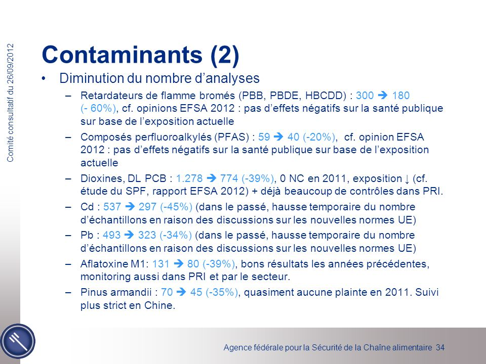 Contaminants (2) Diminution du nombre d'analyses