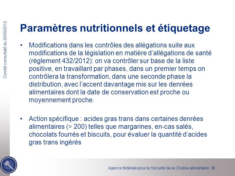 Paramètres nutritionnels et étiquetage