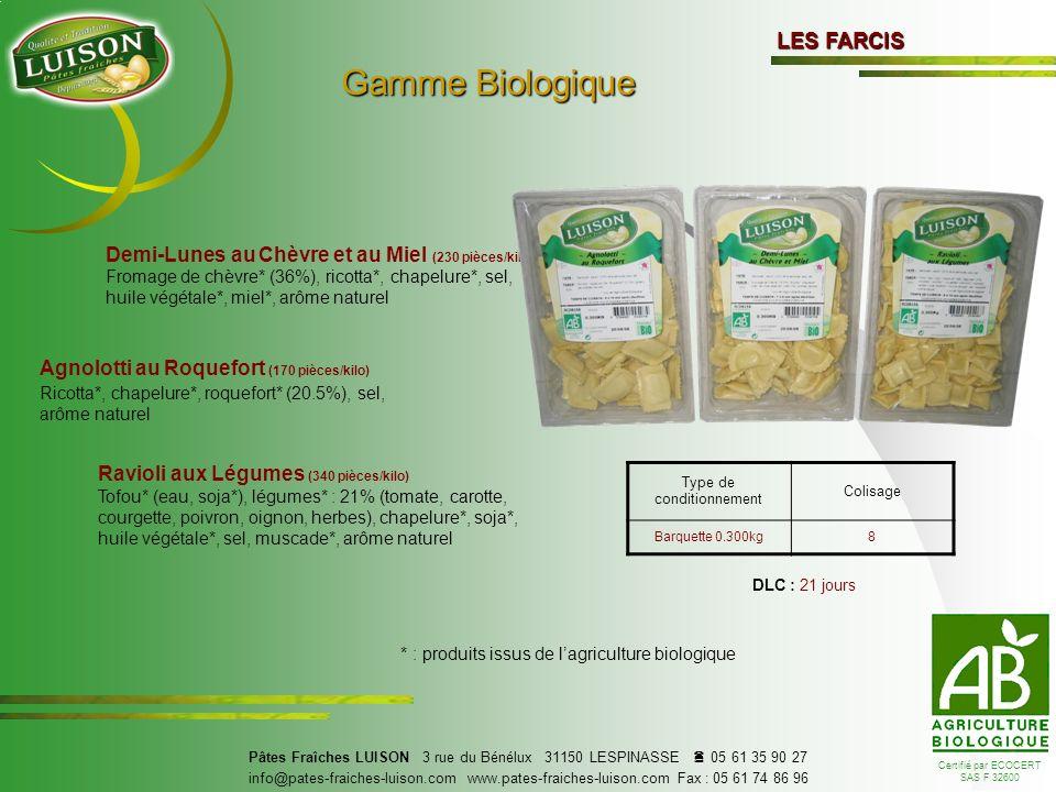 Gamme Biologique LES FARCIS