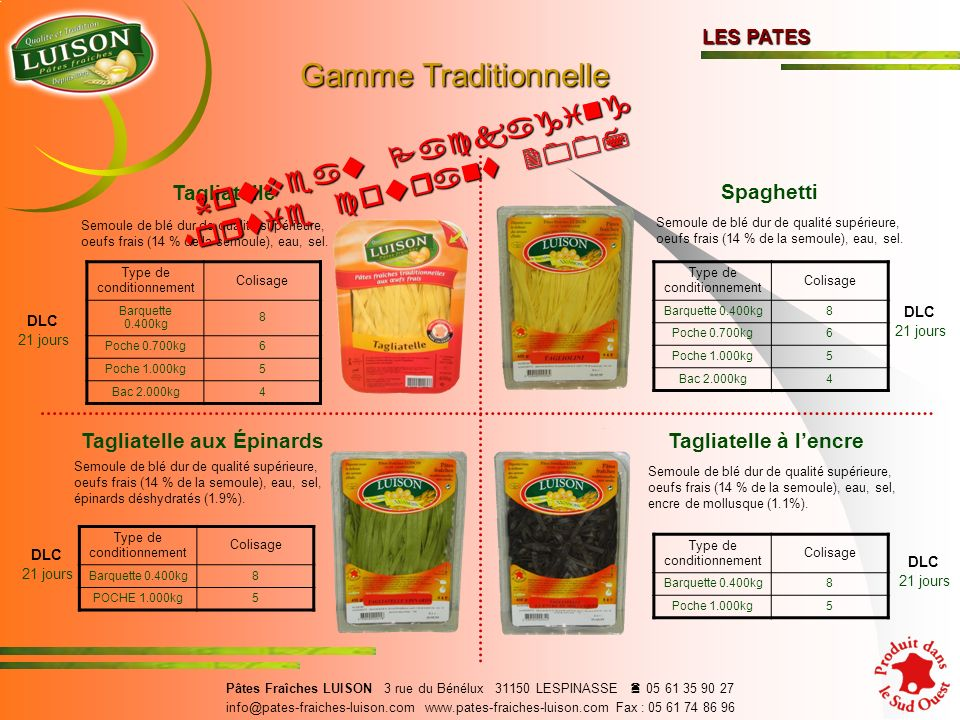 Gamme Traditionnelle Nouveau Packaging sortie courant 2007 Tagliatelle