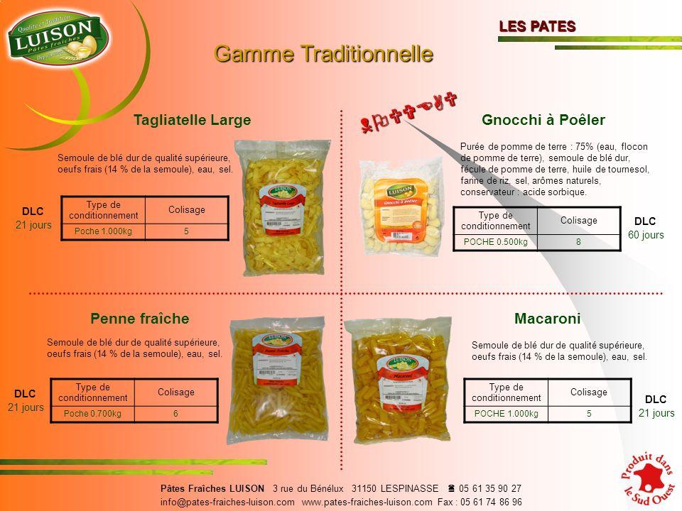 Gamme Traditionnelle NOUVEAU Tagliatelle Large Gnocchi à Poêler