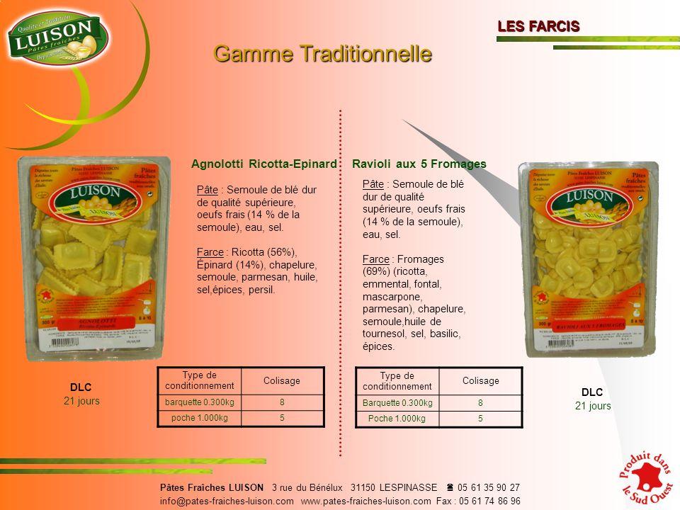Gamme Traditionnelle LES FARCIS Agnolotti Ricotta-Epinard