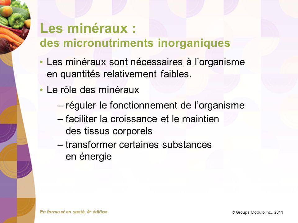 Les minéraux : des micronutriments inorganiques