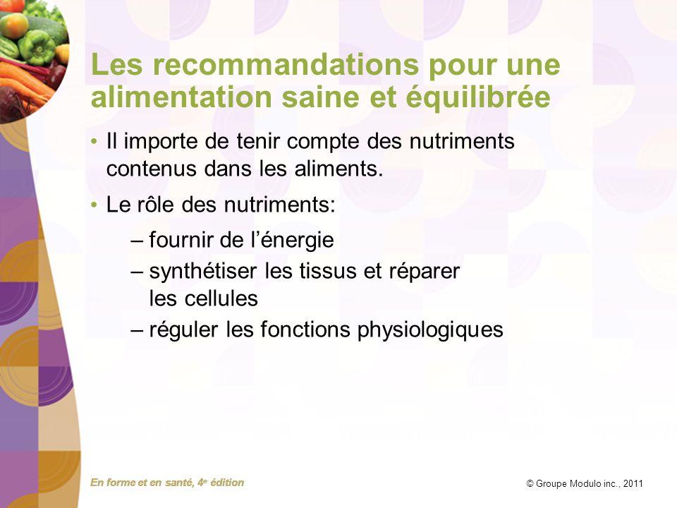 Les recommandations pour une alimentation saine et équilibrée