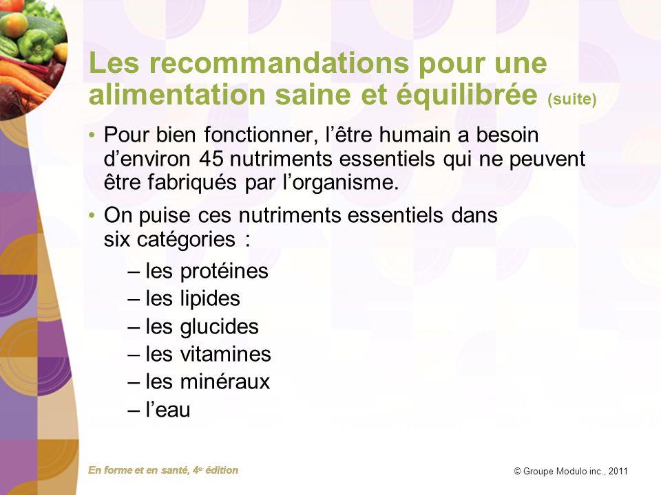 Les recommandations pour une alimentation saine et équilibrée (suite)