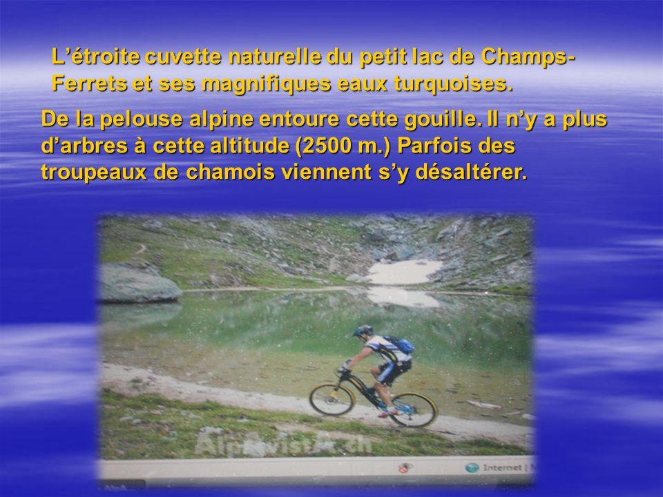 L'étroite cuvette naturelle du petit lac de Champs-Ferrets et ses magnifiques eaux turquoises.