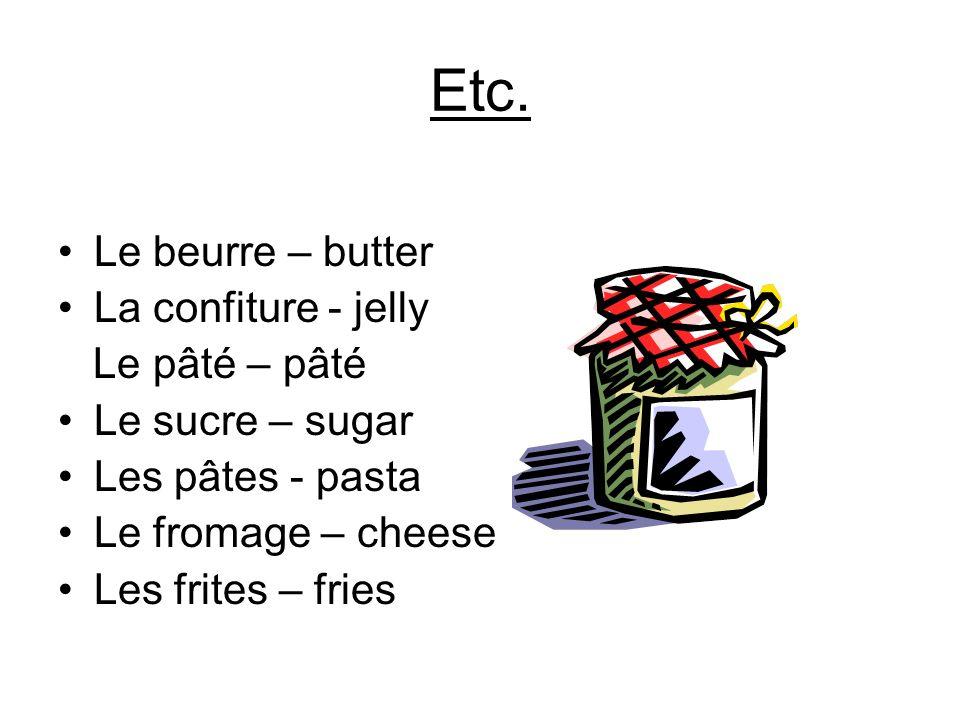Etc. Le beurre – butter La confiture - jelly Le pâté – pâté