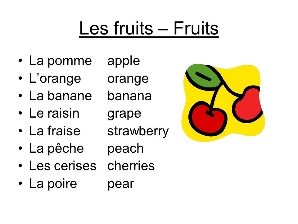 Les fruits – Fruits La pomme apple L'orange orange La banane banana