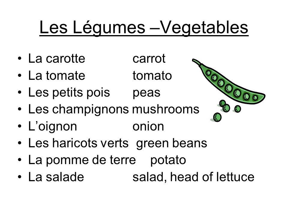 Les Légumes –Vegetables
