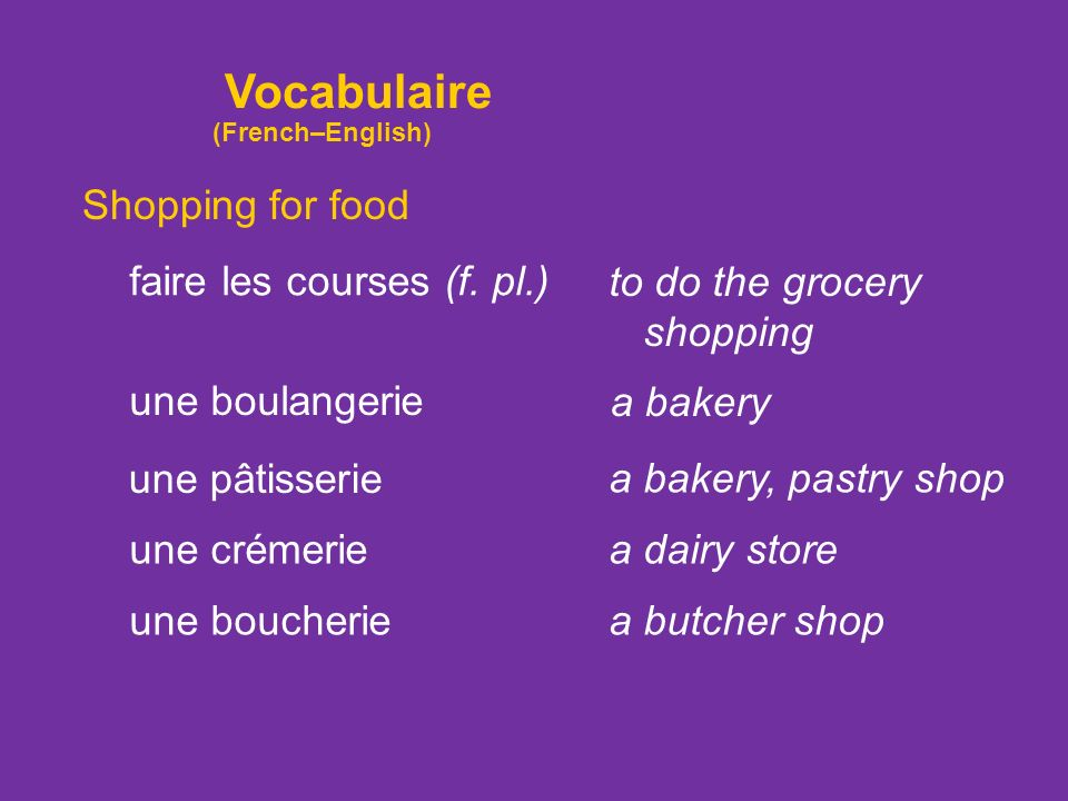 Vocabulaire Shopping for food faire les courses (f. pl.)