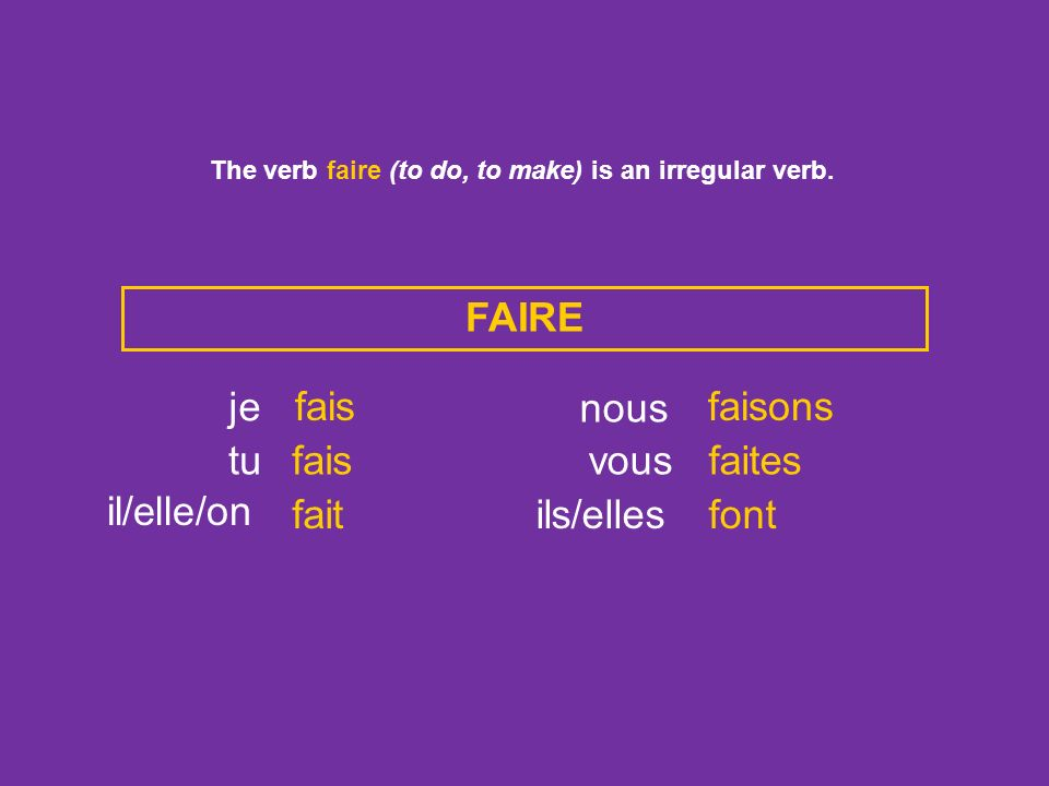 The verb faire (to do, to make) is an irregular verb.