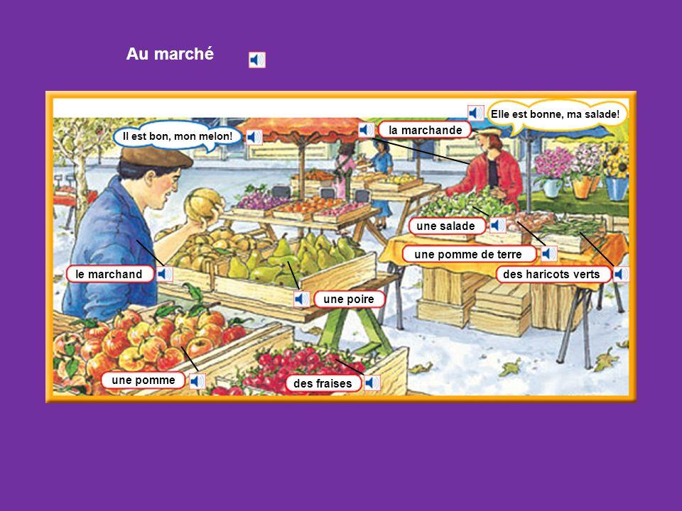 Au marché la marchande une salade une pomme de terre le marchand