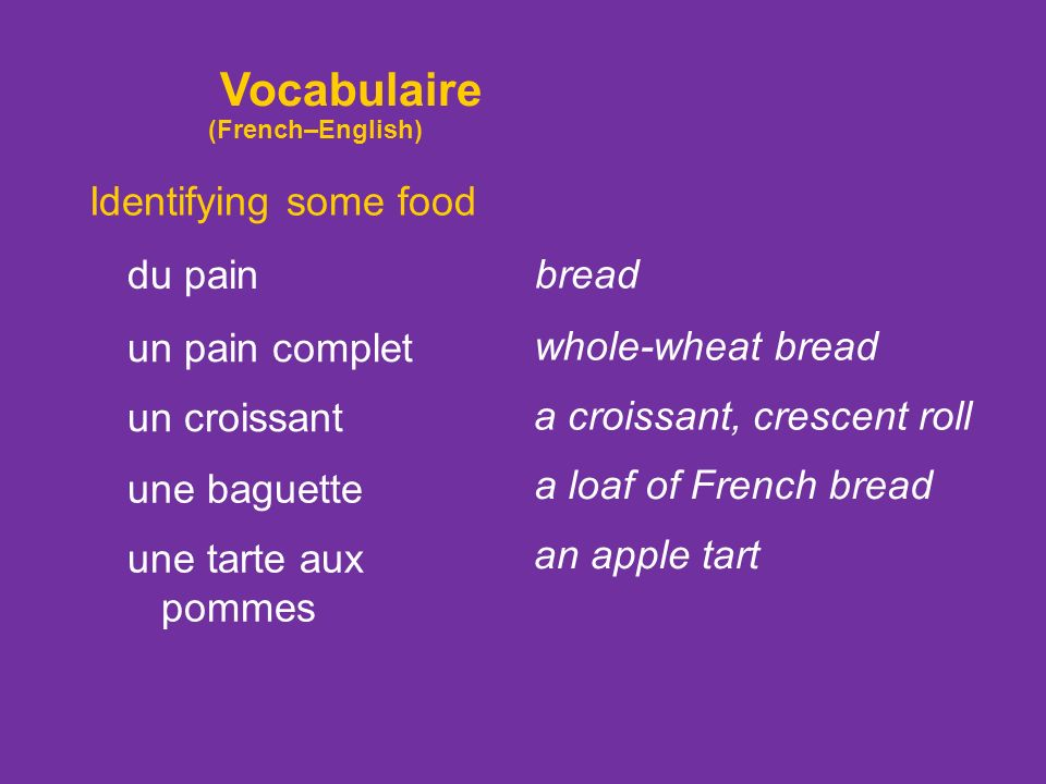 Vocabulaire Identifying some food du pain bread un pain complet