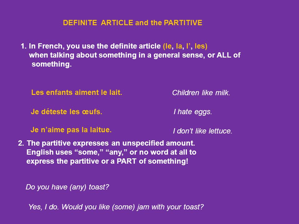 DEFINITE ARTICLE and the PARTITIVE