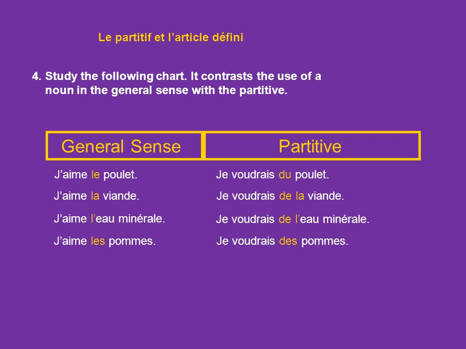 General Sense Partitive Le partitif et l'article défini