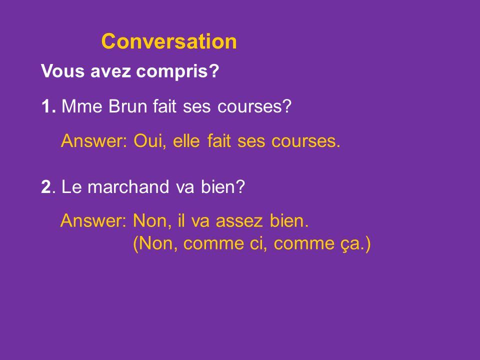 Conversation Vous avez compris 1. Mme Brun fait ses courses