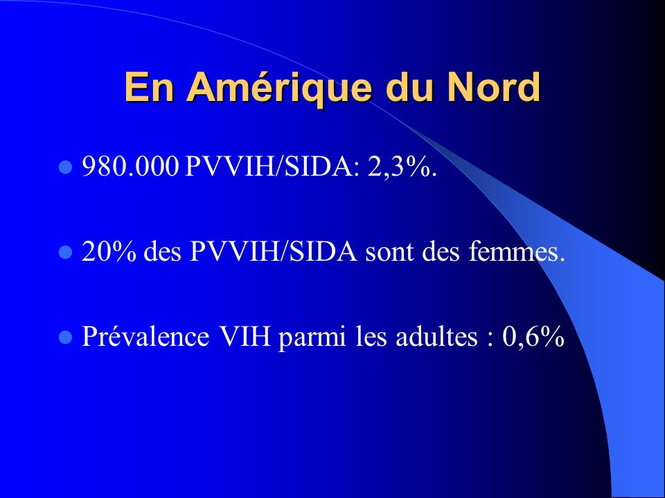 En Amérique du Nord 980.000 PVVIH/SIDA: 2,3%.