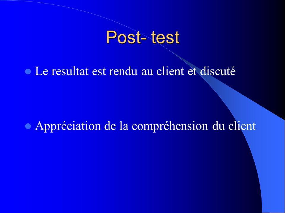 Post- test Le resultat est rendu au client et discuté
