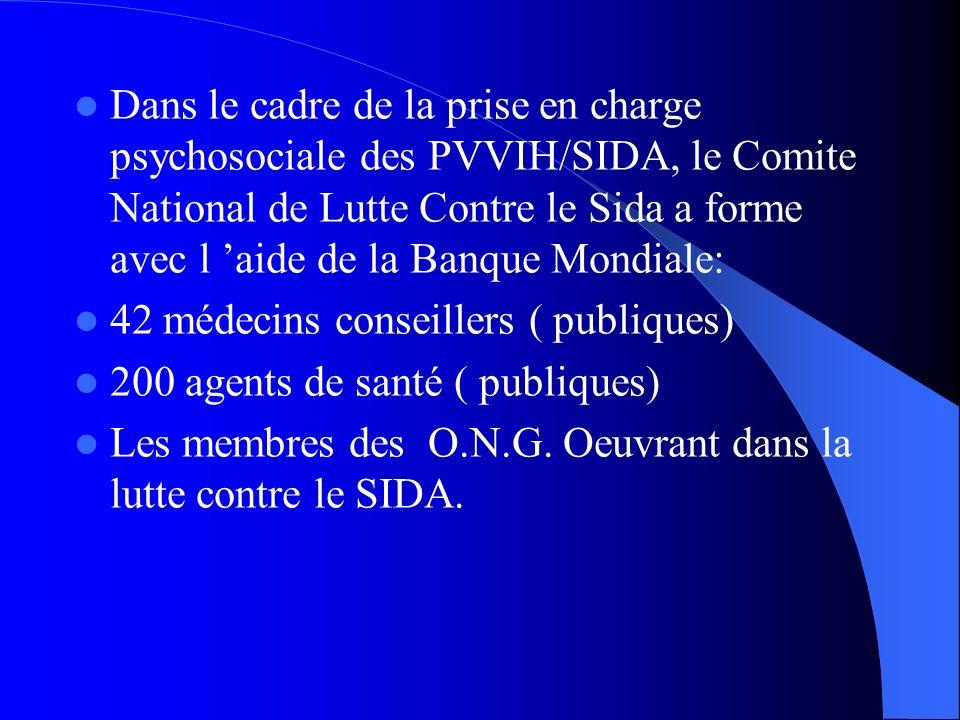 Dans le cadre de la prise en charge psychosociale des PVVIH/SIDA, le Comite National de Lutte Contre le Sida a forme avec l 'aide de la Banque Mondiale: