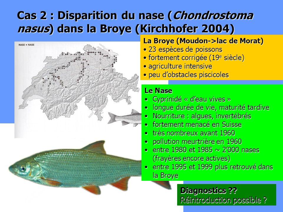 Cas 2 : Disparition du nase (Chondrostoma nasus) dans la Broye (Kirchhofer 2004)