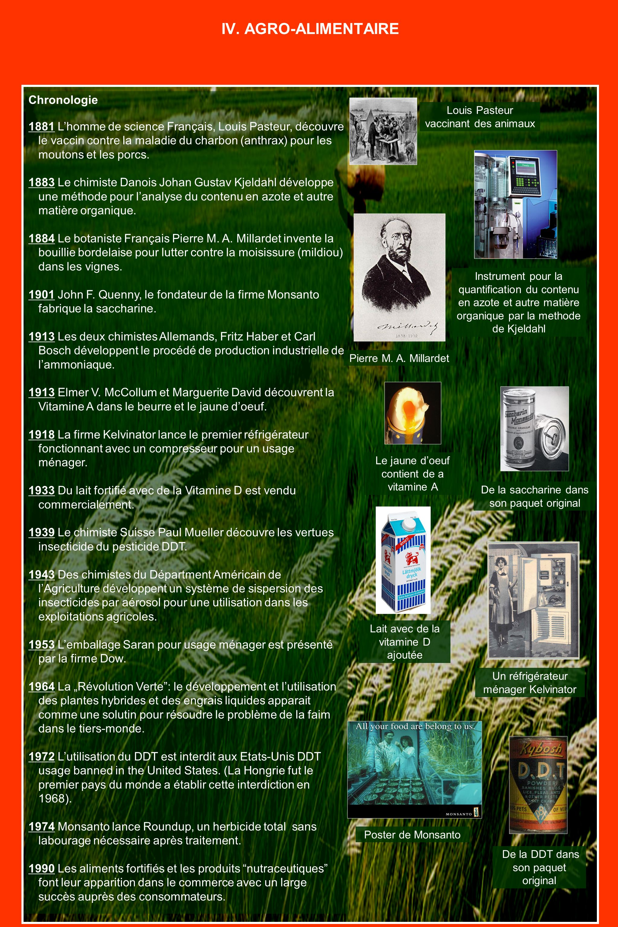 IV. AGRO-ALIMENTAIRE Chronologie