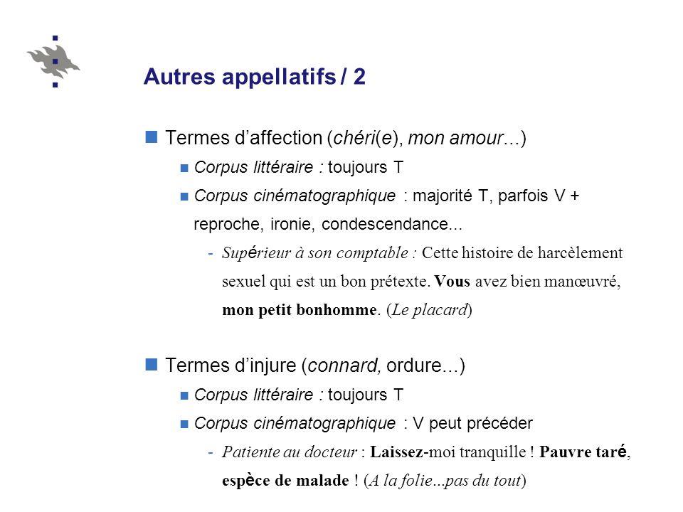 Autres appellatifs / 2 Termes d'affection (chéri(e), mon amour...)
