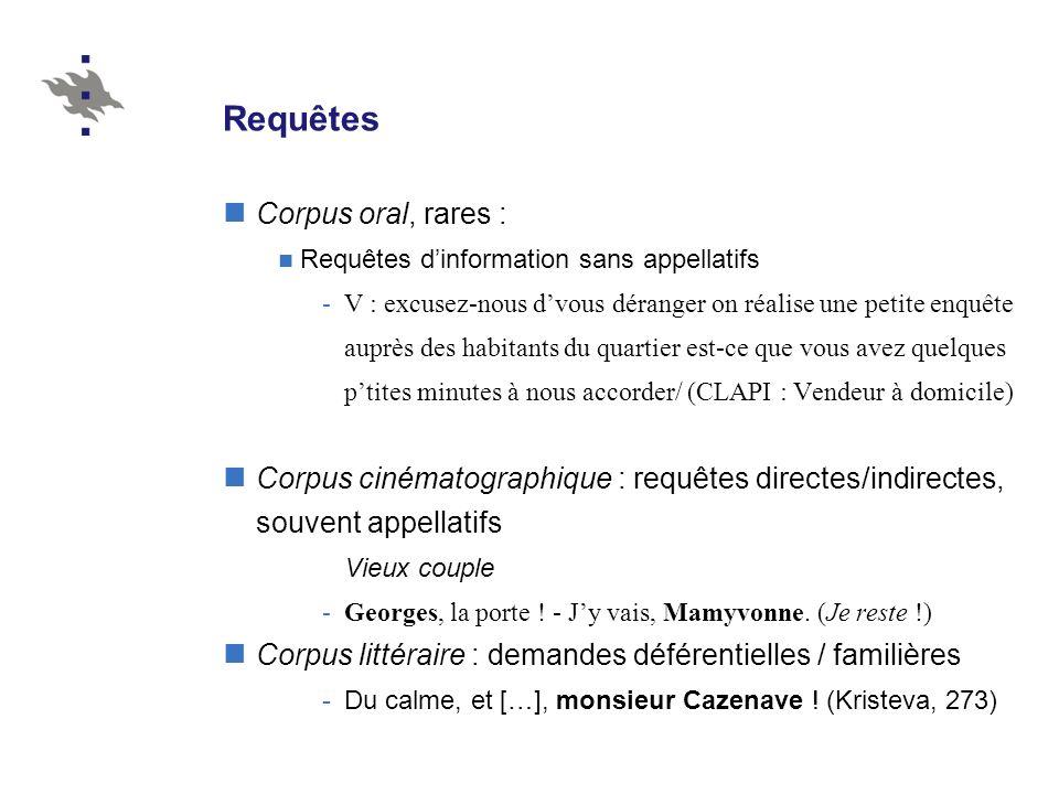 Requêtes Corpus oral, rares :
