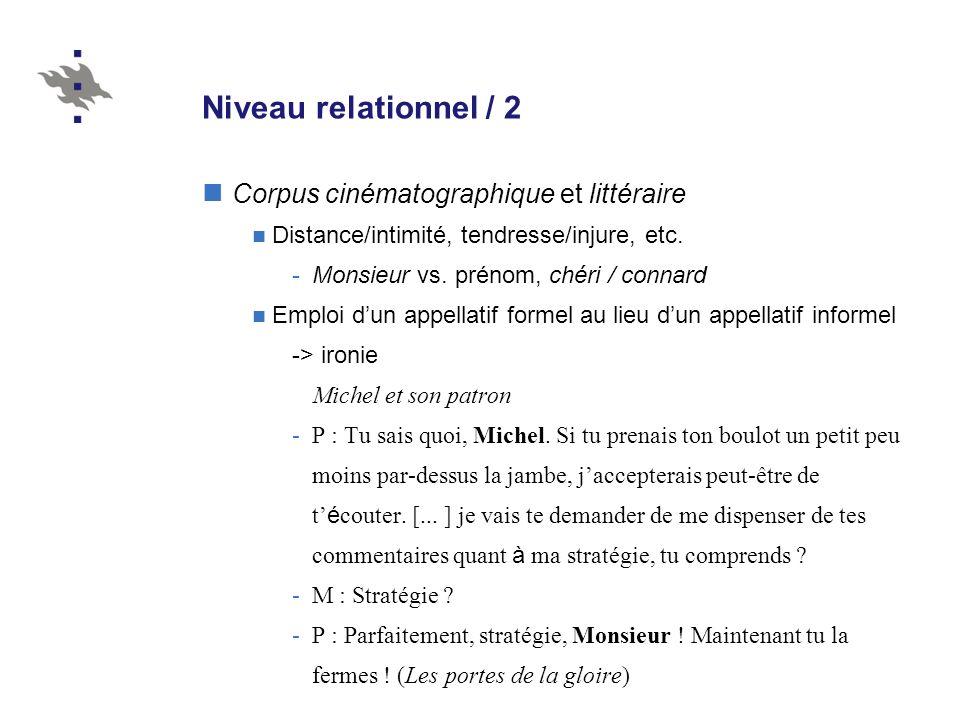 Niveau relationnel / 2 Corpus cinématographique et littéraire