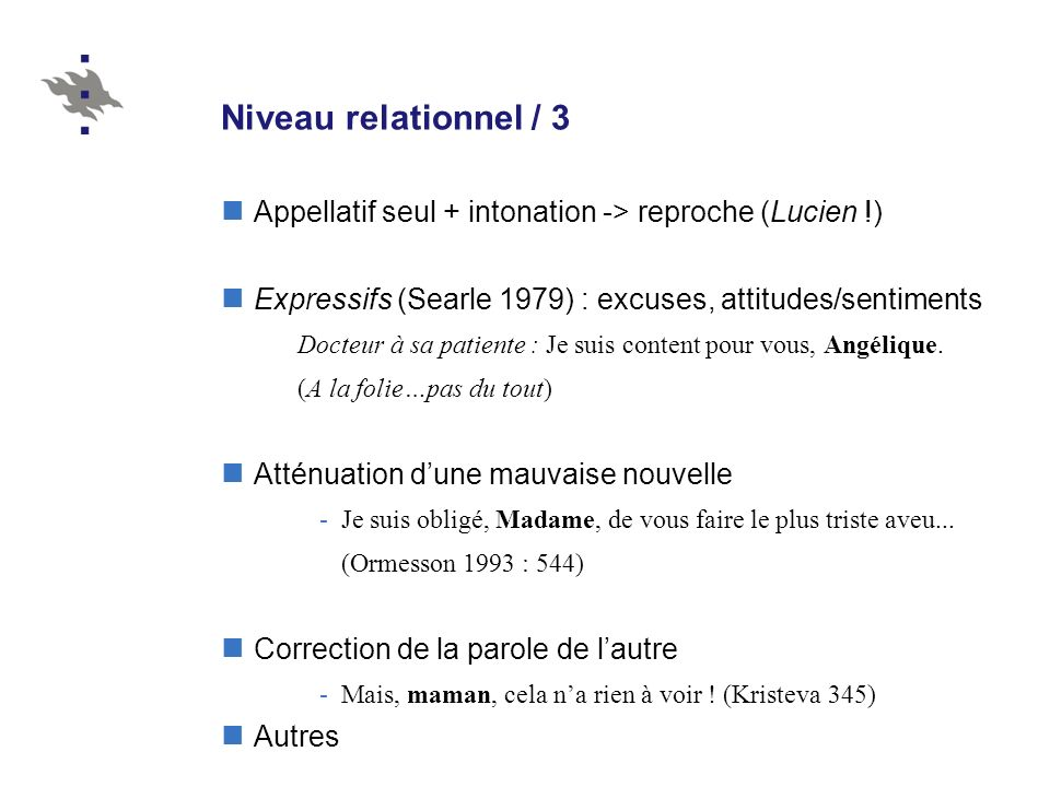 Niveau relationnel / 3 Appellatif seul + intonation -> reproche (Lucien !) Expressifs (Searle 1979) : excuses, attitudes/sentiments.