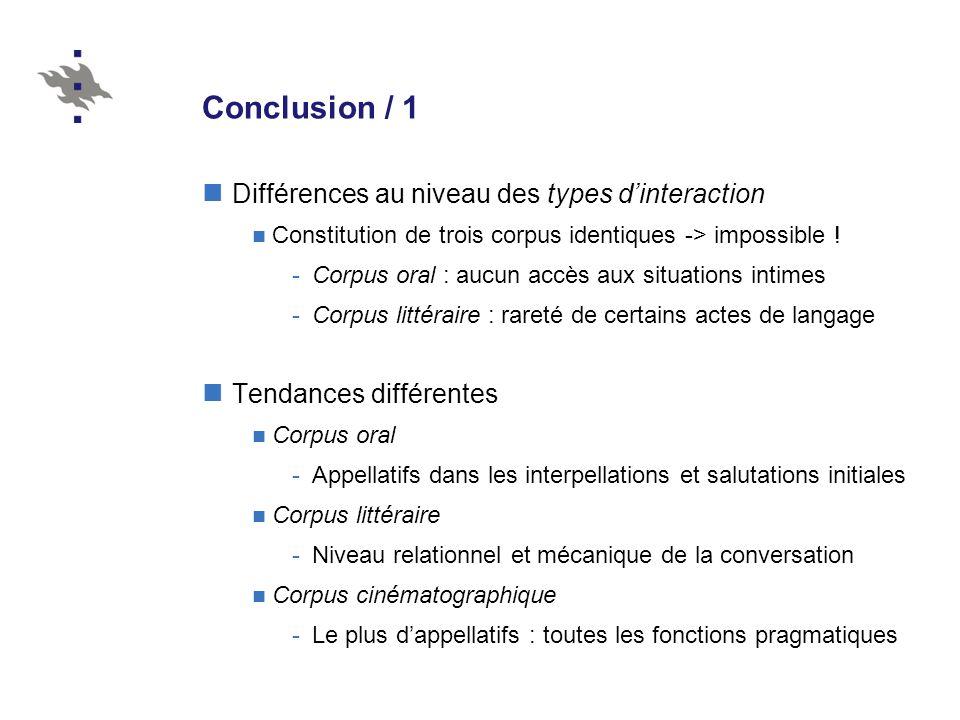 Conclusion / 1 Différences au niveau des types d'interaction