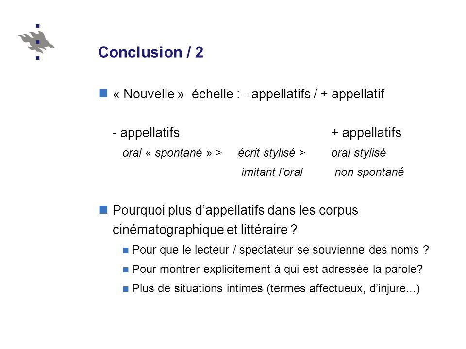 Conclusion / 2 « Nouvelle » échelle : - appellatifs / + appellatif