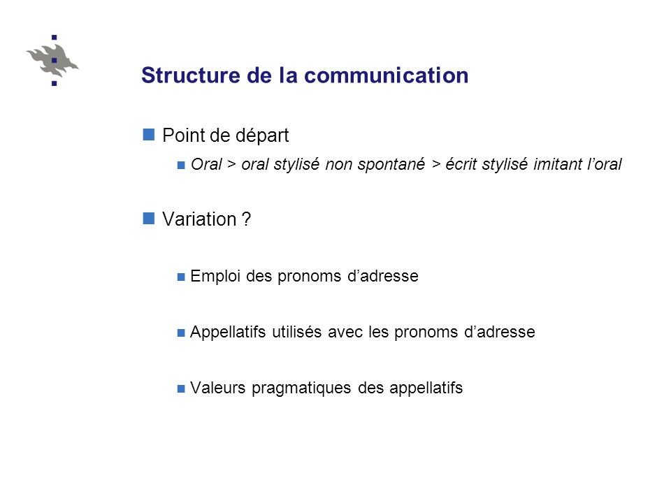 Structure de la communication