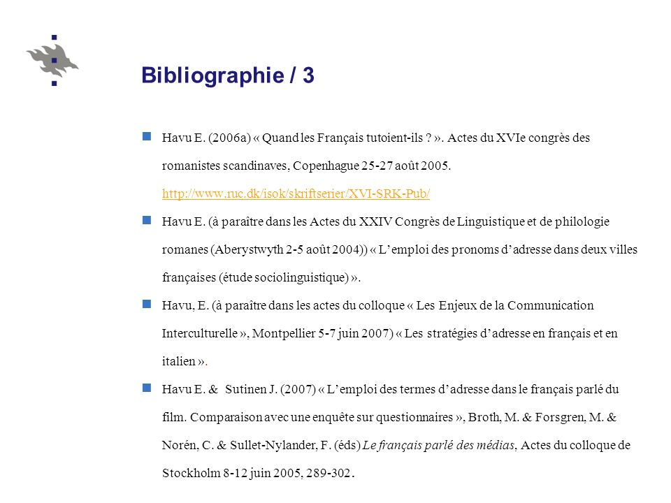 Bibliographie / 3