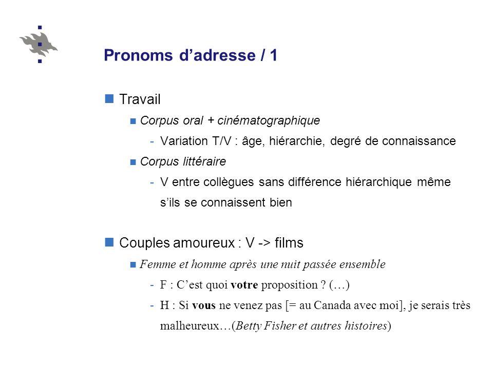 Pronoms d'adresse / 1 Travail Couples amoureux : V -> films