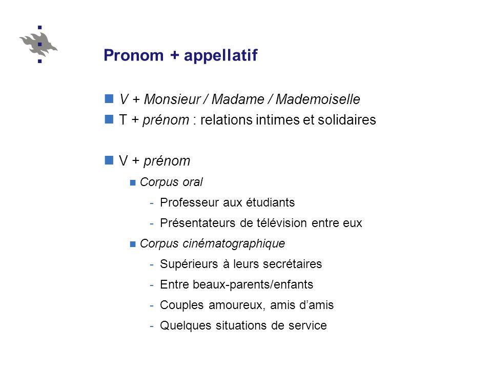 Pronom + appellatif V + Monsieur / Madame / Mademoiselle