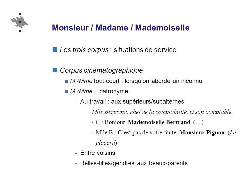 Monsieur / Madame / Mademoiselle