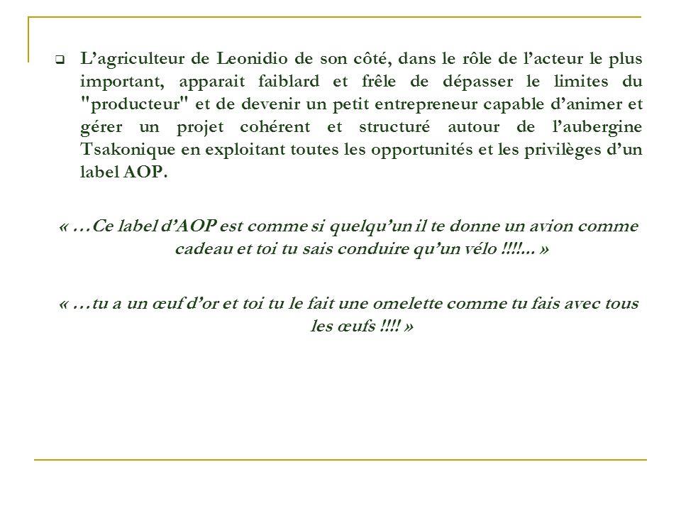 L'agriculteur de Leonidio de son côté, dans le rôle de l'acteur le plus important, apparait faiblard et frêle de dépasser le limites du producteur et de devenir un petit entrepreneur capable d'animer et gérer un projet cohérent et structuré autour de l'aubergine Tsakonique en exploitant toutes les opportunités et les privilèges d'un label AOP.